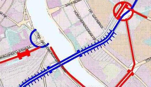 Схема моста в створе Фаянсовой
