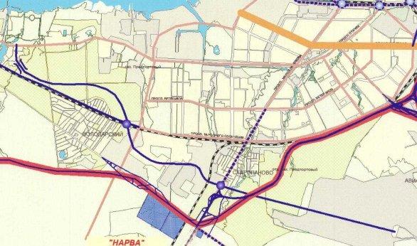 Красным -КАД, синим - планировавшаяся дорога, тонкая линия от середины нижнего среза картинки влево вверх...