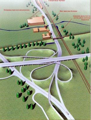 Трехмерная схема продолжения Витебского проспекта и развязки на КАД - Предоставил: Инженер.